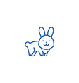 cute rabbit line icon concept cute rabbit flat vector image