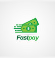 fast pay dollar money logo sign symbol icon vector image