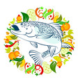 fish food with vegetables vector image vector image