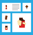 flat icon bitter set of sweet chocolate bar vector image vector image