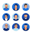 flat modern blue minimal avatar icons business vector image vector image