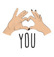 i love you romantic print valentines fingers vector image