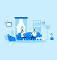 man woman sitting on couch and discussing family vector image vector image