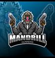 mandrill gunner esport mascot logo design vector image vector image