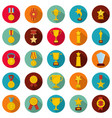 medal award icon set flat style vector image vector image