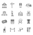 Museum icons set outline style vector image vector image