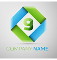 Number nine logo symbol in the colorful rhombus vector image vector image