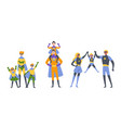 parents and kids boy and girl playing superheroes vector image vector image