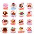 pastry shop desserts cakes ice cream icons vector image vector image