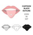 pierced tongue icon cartoon single tattoo icon vector image vector image