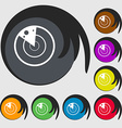 radar icon sign Symbols on eight colored buttons vector image
