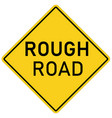 rough road warning sign on white background flat vector image vector image