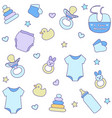 seamless pattern with baby boy items vector image vector image