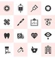set black medical icons vector image