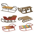 set cartoon sleds for children collection vector image