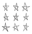 set hand drawn star vector image vector image