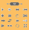 set of arrow symbol on a orange background vector image vector image