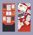 set teamwork table elements computer and paper vector image