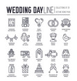 set wedding day decoration and attributes icons vector image