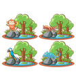 set wild animals in park with pond and tree vector image vector image