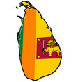 simplified map of sri lanka ceylon outline with vector image