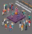 street performers isometric composition vector image vector image