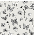 Summer Monochrome Vintage Floral Seamless Pattern vector image
