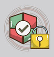 technology shield and padlock services icons vector image vector image