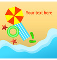 top view of the beach with umbrellas and sunbeds vector image