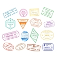 Travel Stamps Color Set vector image vector image