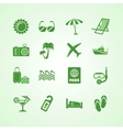 Vacation travel green icons set vector image vector image