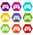 video game controller icon set color hexahedron vector image vector image