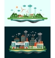Wasted and green landscapes - ecological banners vector image vector image
