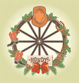 western christmas wreath with old wood wheel and vector image vector image