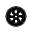 wheel with tyre black icon vector image vector image