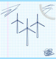 wind turbine line sketch icon isolated on white vector image