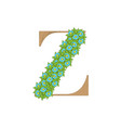 wooden leaves letter z vector image vector image