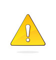 yellow warning sign and exclamation mark inside vector image