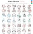 pet friend color line outline icons for vector image