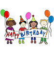 Multicultural kids with Birthday banner vector image