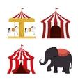 set circus elements festival entertainment vector image