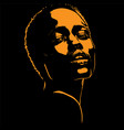 african woman portrait silhouette in contrast vector image vector image
