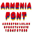 Armenia font Armenian flag on letters National vector image vector image