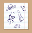 beach look sketch icons vector image vector image