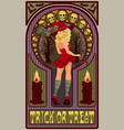blonde sexy witch with a broom art nouveau style vector image vector image