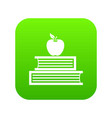 books and apple icon digital green vector image vector image
