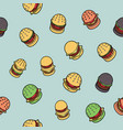 burgers color outline isometric pattern vector image vector image