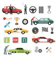 car auto flat icons set vector image vector image