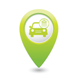 car wash icon map pointer green vector image vector image