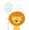 cartoon lion with a balloon it s a boy cute lion vector image